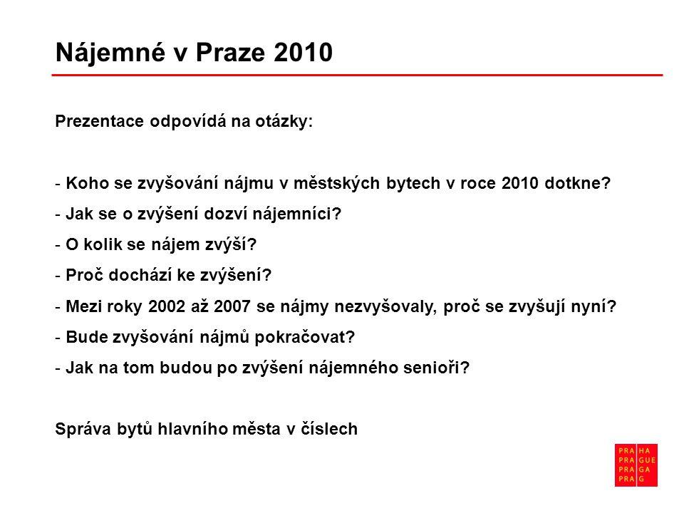 Nájemné v Praze 2010 Prezentace odpovídá na otázky: - Koho se zvyšování nájmu v městských bytech v roce 2010 dotkne? - Jak se o zvýšení dozví nájemníc
