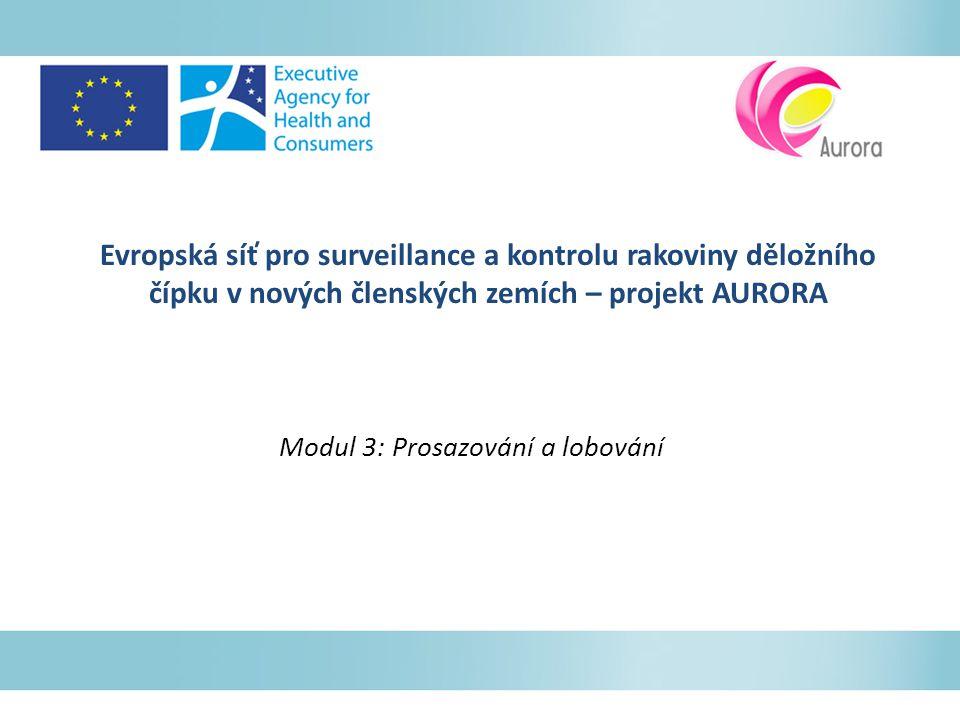 Evropská síť pro surveillance a kontrolu rakoviny děložního čípku v nových členských zemích – projekt AURORA Modul 3: Prosazování a lobování