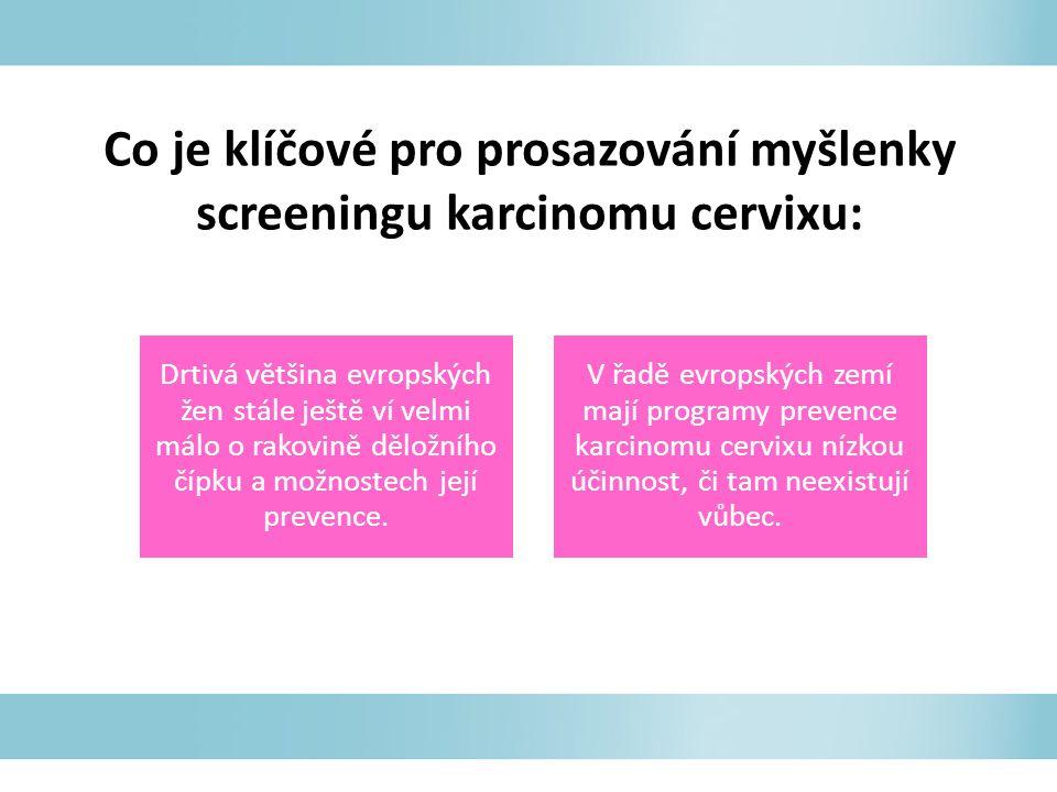 Co je klíčové pro prosazování myšlenky screeningu karcinomu cervixu: Drtivá většina evropských žen stále ještě ví velmi málo o rakovině děložního čípku a možnostech její prevence.