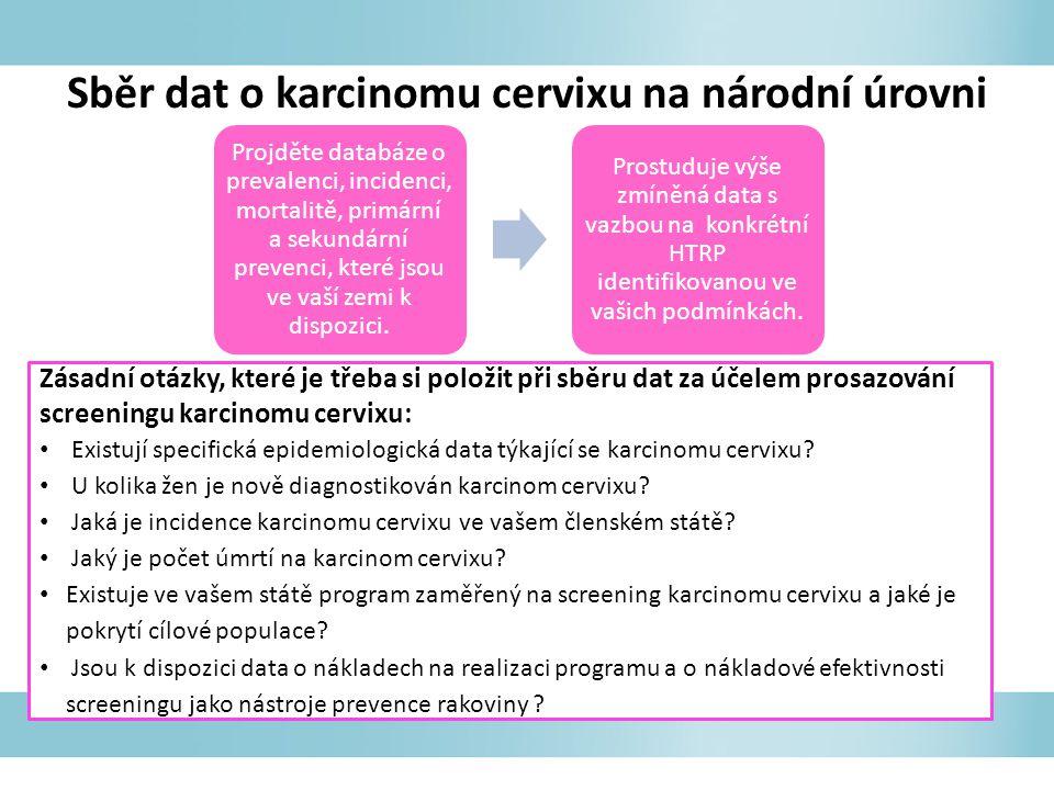 Sběr dat o karcinomu cervixu na národní úrovni Projděte databáze o prevalenci, incidenci, mortalitě, primární a sekundární prevenci, které jsou ve vaší zemi k dispozici.