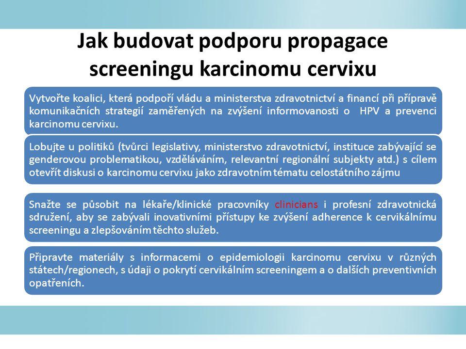 Jak budovat podporu propagace screeningu karcinomu cervixu Vytvořte koalici, která podpoří vládu a ministerstva zdravotnictví a financí při přípravě komunikačních strategií zaměřených na zvýšení informovanosti o HPV a prevenci karcinomu cervixu.