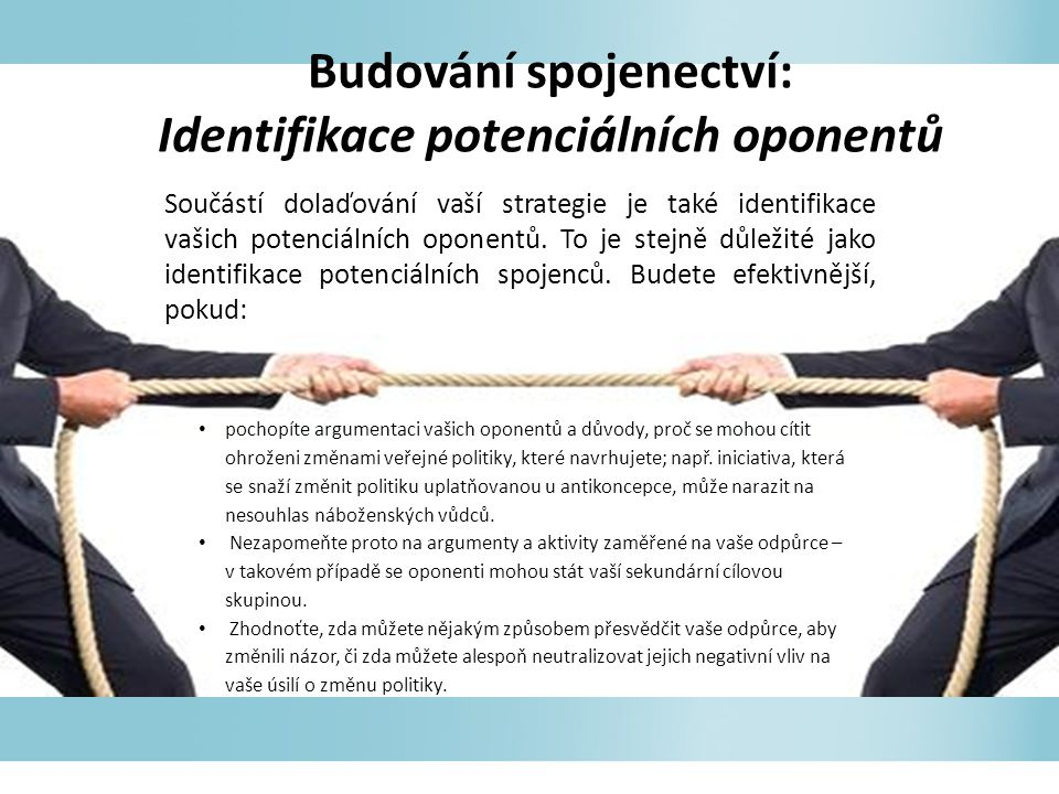Budování spojenectví: Identifikace potenciálních oponentů Součástí dolaďování vaší strategie je také identifikace vašich potenciálních oponentů.