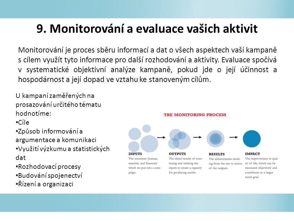 9. Monitorování a evaluace vašich aktivit Monitorování je proces sběru informací a dat o všech aspektech vaší kampaně s cílem využít tyto informace pr
