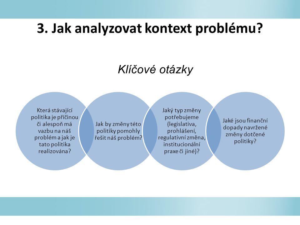 3. Jak analyzovat kontext problému.