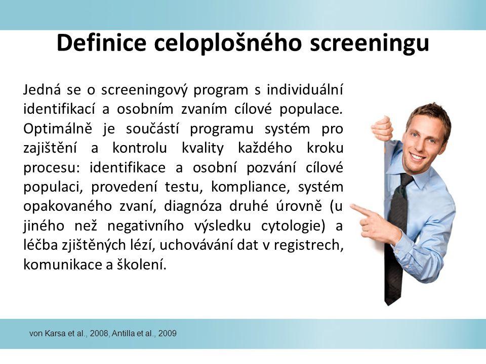 Definice celoplošného screeningu Jedná se o screeningový program s individuální identifikací a osobním zvaním cílové populace. Optimálně je součástí p
