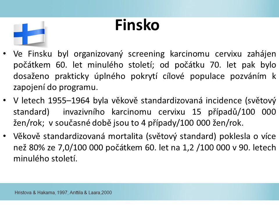 Finsko Ve Finsku byl organizovaný screening karcinomu cervixu zahájen počátkem 60. let minulého století; od počátku 70. let pak bylo dosaženo praktick
