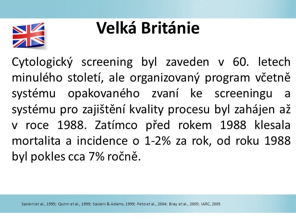 Velká Británie Cytologický screening byl zaveden v 60. letech minulého století, ale organizovaný program včetně systému opakovaného zvaní ke screening