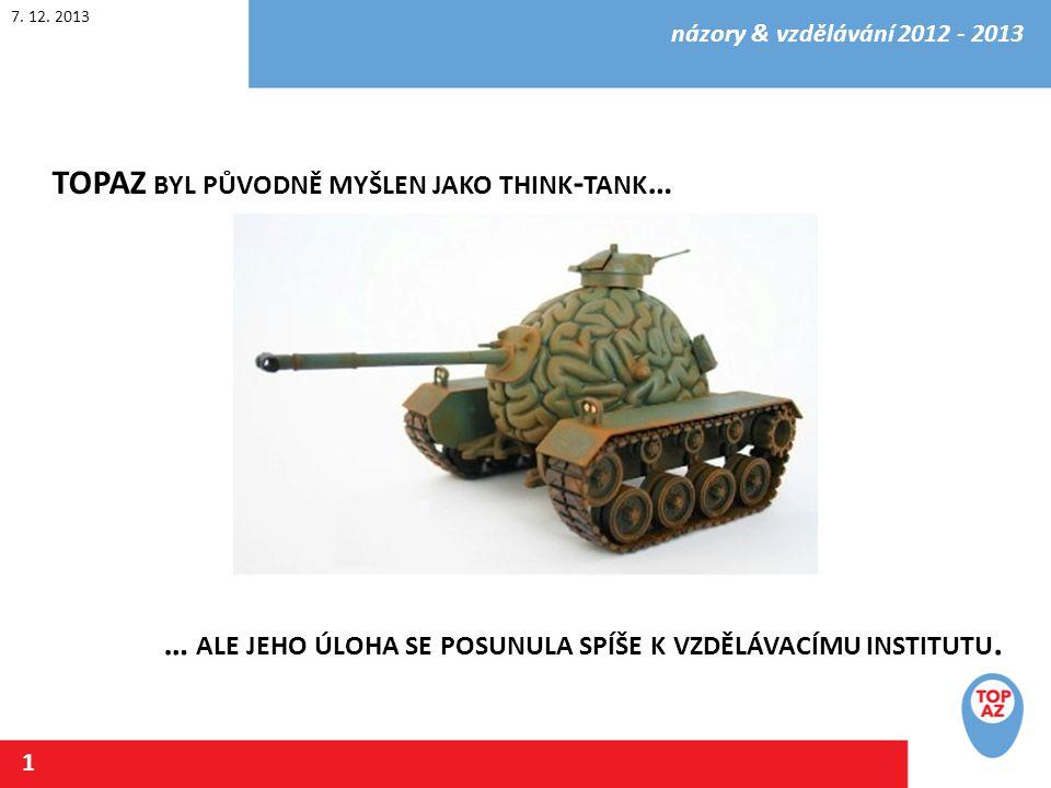 7.12. 2013 názory & vzdělávání 2012 - 2013 2 V ZNIKL V ROCE 2012 ROZHODNUTÍM ORGÁNŮ TOP 09.