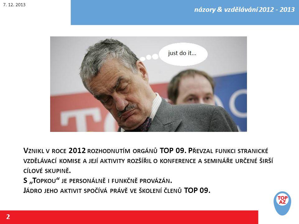 7. 12. 2013 názory & vzdělávání 2012 - 2013 2 V ZNIKL V ROCE 2012 ROZHODNUTÍM ORGÁNŮ TOP 09.
