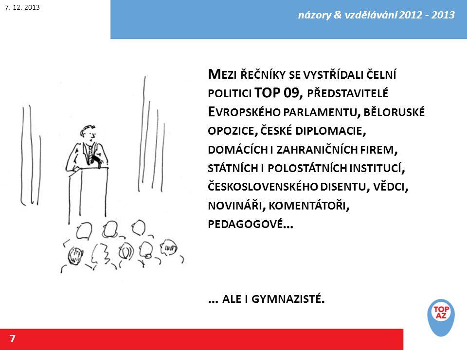 7. 12. 2013 názory & vzdělávání 2012 - 2013 8 K OLIK TO STOJÍ ?? H ODNĚ. V ZDĚLÁNÍ NENÍ ZADARMO.