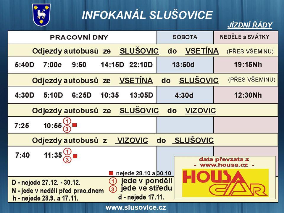 www.slusovice.cz JÍZDNÍ ŘÁDY