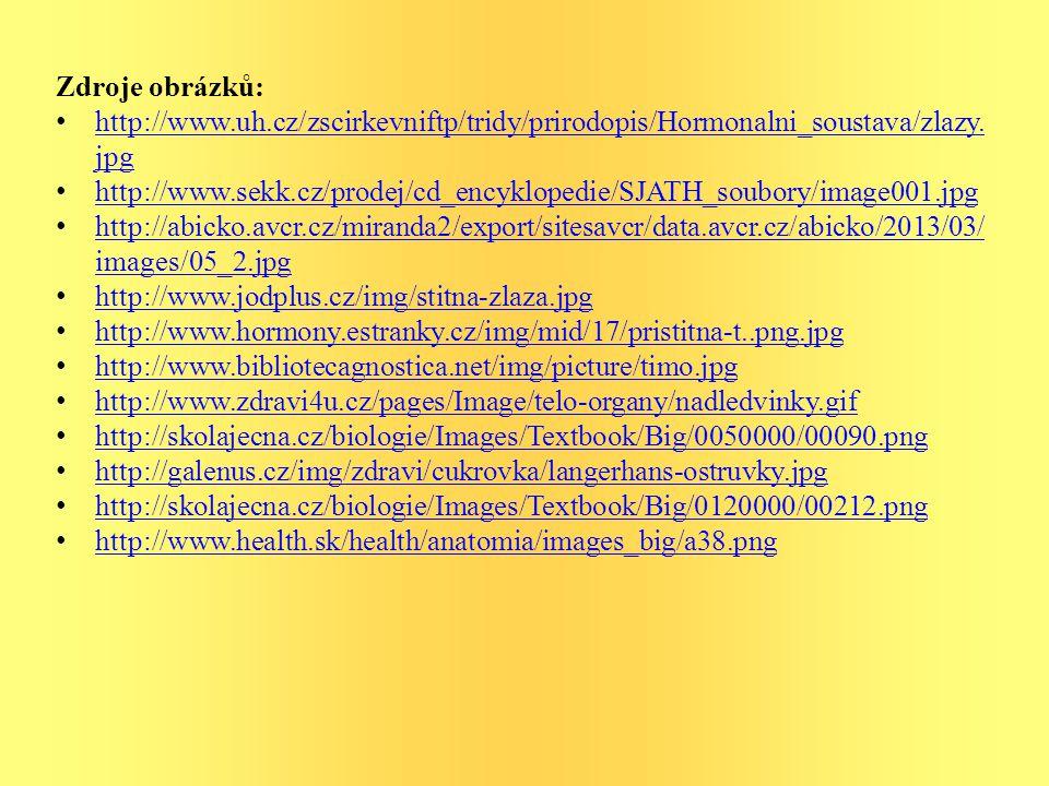 Zdroje obrázků: http://www.uh.cz/zscirkevniftp/tridy/prirodopis/Hormonalni_soustava/zlazy. jpg http://www.uh.cz/zscirkevniftp/tridy/prirodopis/Hormona