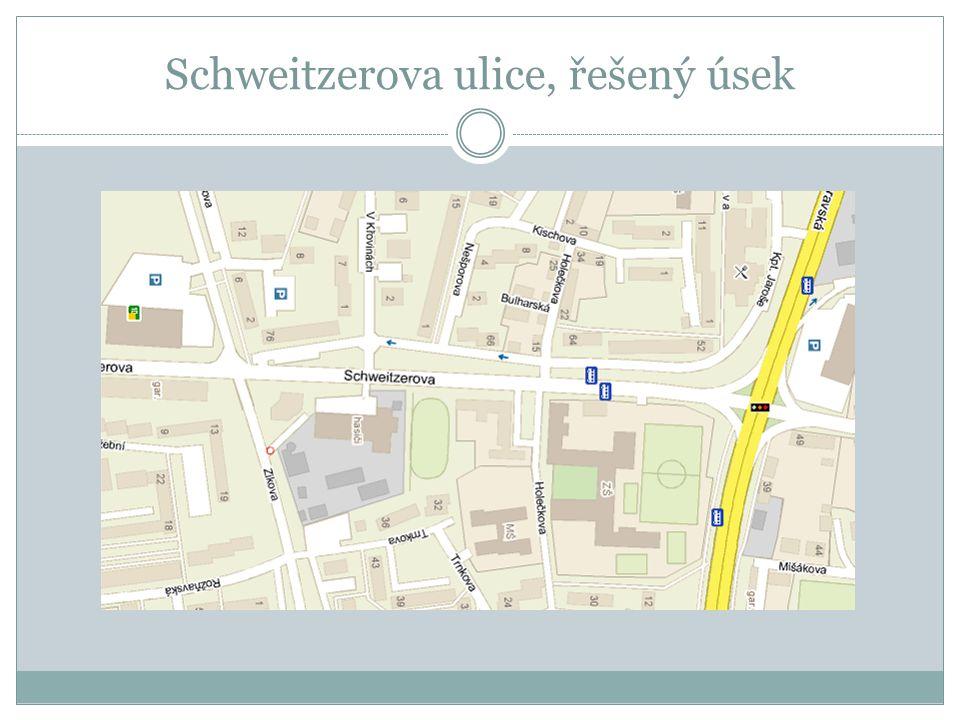 Schweitzerova ulice, řešený úsek