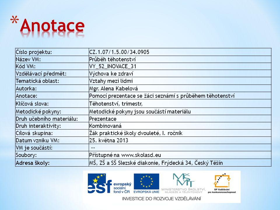 Číslo projektu:CZ.1.07/1.5.00/34.0905 Název VM:Průběh těhotenství Kód VM:VY_52_INOVACE_31 Vzdělávací předmět:Výchova ke zdraví Tematická oblast:Vztahy mezi lidmi Autorka:Mgr.
