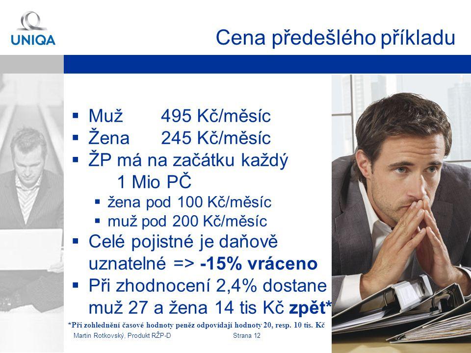 Martin Rotkovský, Produkt RŽP-D Strana 13 Modelový příklad - pojištění k úvěru  Klient s úvěrem, který chce zajistit rodinu pro případ smrti  Zvolí základ na 20/25% hodnoty (zajišťované části) úvěru  Na zbylých 80/75% sjedná klesající částku