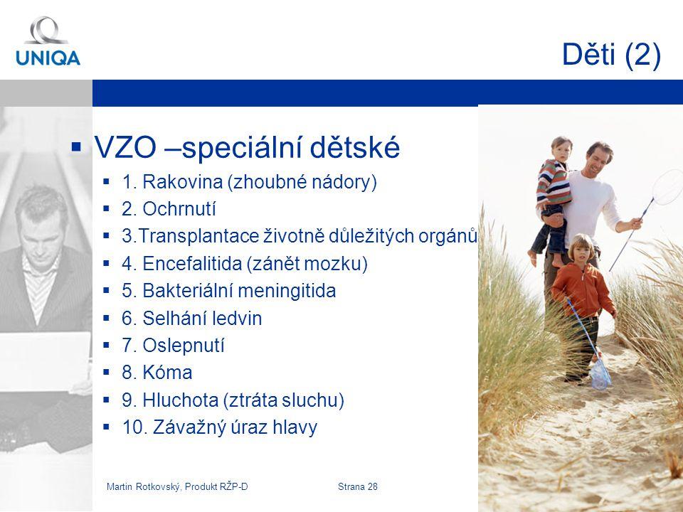 Martin Rotkovský, Produkt RŽP-D Strana 29 Děti (3)  VZO –speciální dětské  Limity PČ 50-500 tis  PČ 100 tis.=>13 Kč/měs.