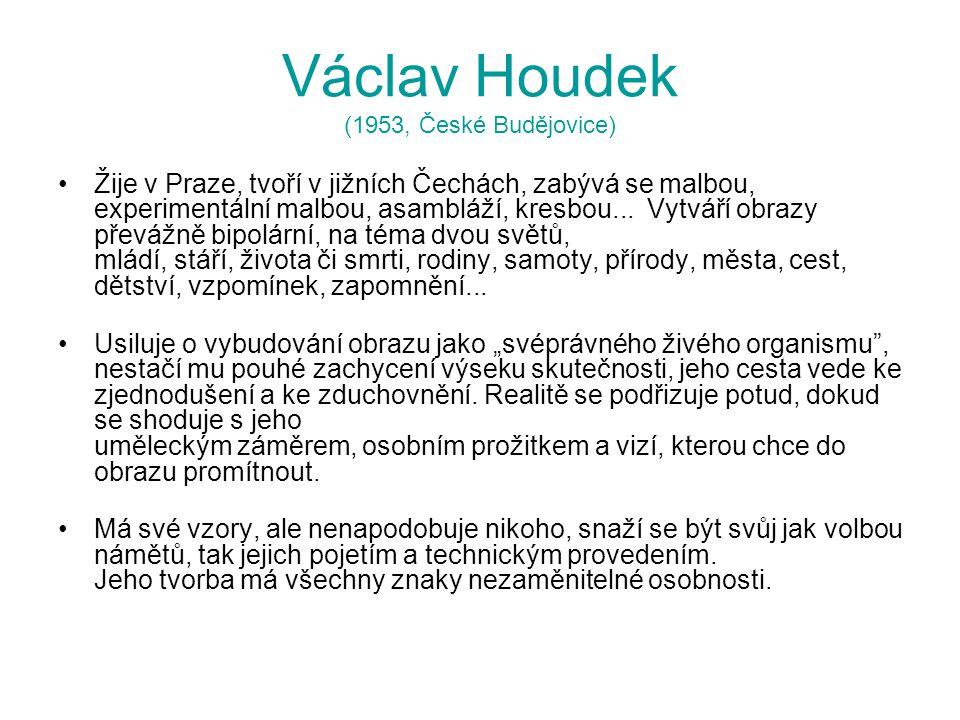 Václav Houdek (1953, České Budějovice) Žije v Praze, tvoří v jižních Čechách, zabývá se malbou, experimentální malbou, asambláží, kresbou... Vytváří o