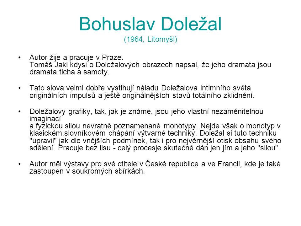 Bohuslav Doležal (1964, Litomyšl) Autor žije a pracuje v Praze. Tomáš Jakl kdysi o Doležalových obrazech napsal, že jeho dramata jsou dramata ticha a