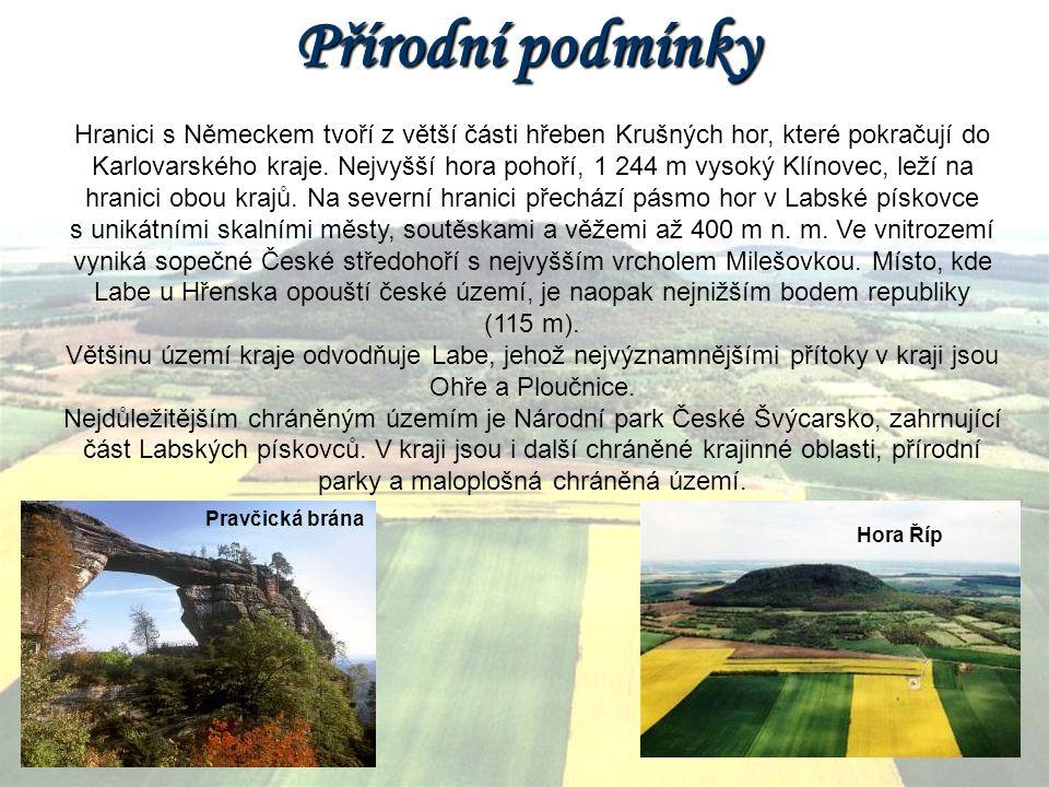 Přírodní podmínky Hranici s Německem tvoří z větší části hřeben Krušných hor, které pokračují do Karlovarského kraje. Nejvyšší hora pohoří, 1 244 m vy