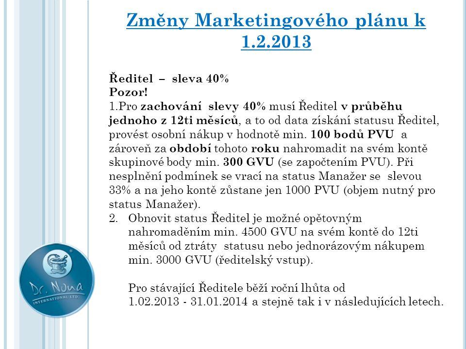 Změny Marketingového plánu k 1.2.2013 Ředitel – sleva 40% Pozor! 1.Pro zachování slevy 40% musí Ředitel v průběhu jednoho z 12ti měsíců, a to od data