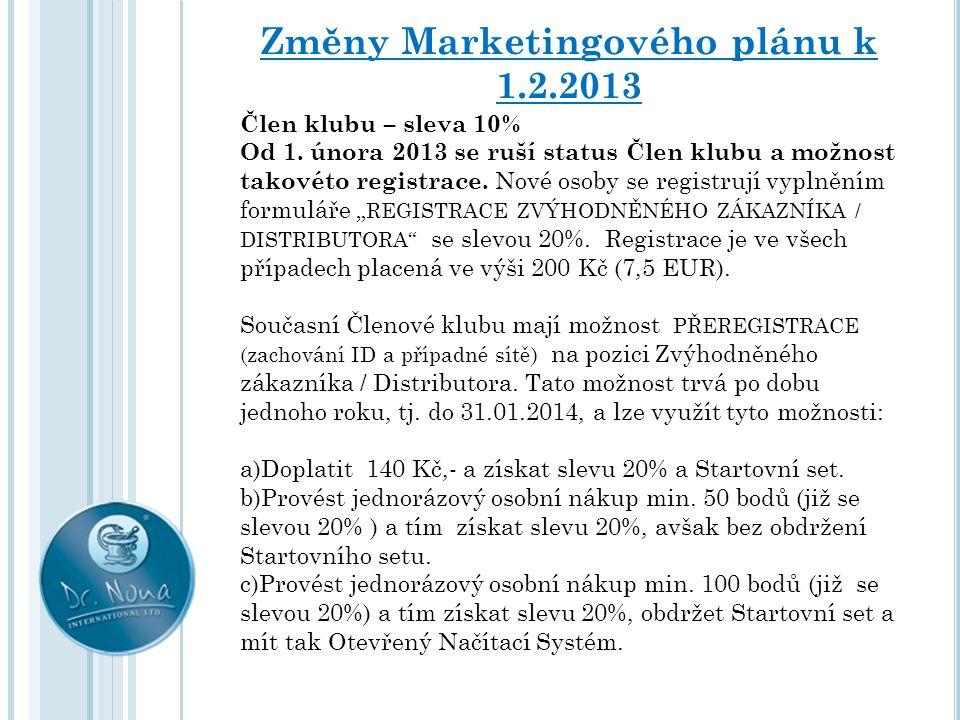 Změny Marketingového plánu k 1.2.2013 Člen klubu – sleva 10% Od 1. února 2013 se ruší status Člen klubu a možnost takovéto registrace. Nové osoby se r