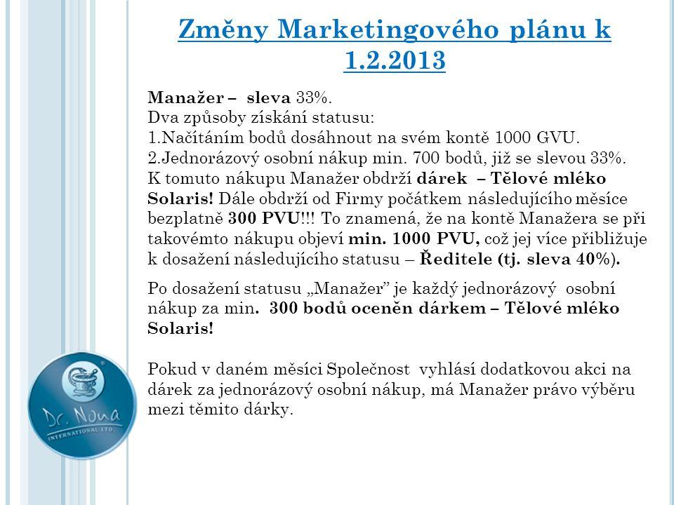 Změny Marketingového plánu k 1.2.2013 Manažer – sleva 33%. Dva způsoby získání statusu: 1.Načítáním bodů dosáhnout na svém kontě 1000 GVU. 2.Jednorázo