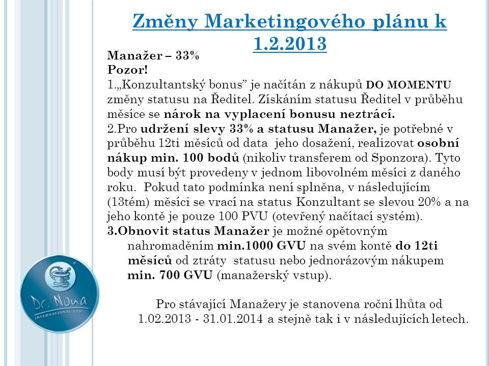 Změny Marketingového plánu k 1.2.2013 Ředitel – sleva 40% Nadále zůstávají dva způsoby získání statusu: 1.Dosáhnout načítáním bodů hranice 4500 GVU.
