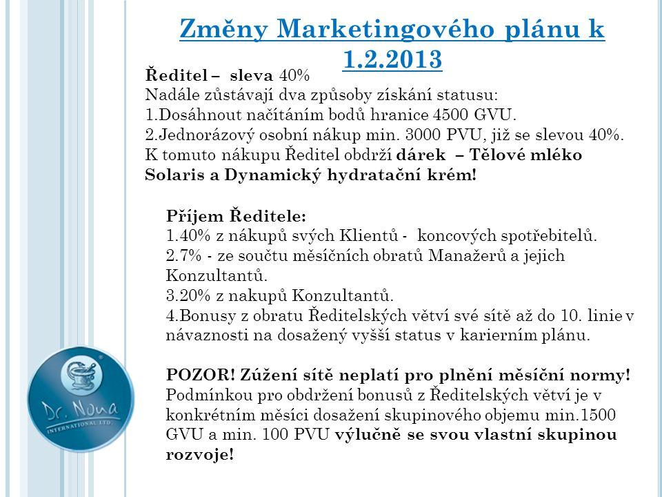 Změny Marketingového plánu k 1.2.2013 Ředitel – sleva 40% Nadále zůstávají dva způsoby získání statusu: 1.Dosáhnout načítáním bodů hranice 4500 GVU. 2