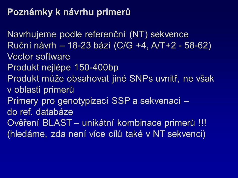 Poznámky k návrhu primerů Navrhujeme podle referenční (NT) sekvence Ruční návrh – 18-23 bází (C/G +4, A/T+2 - 58-62) Vector software Produkt nejlépe 1