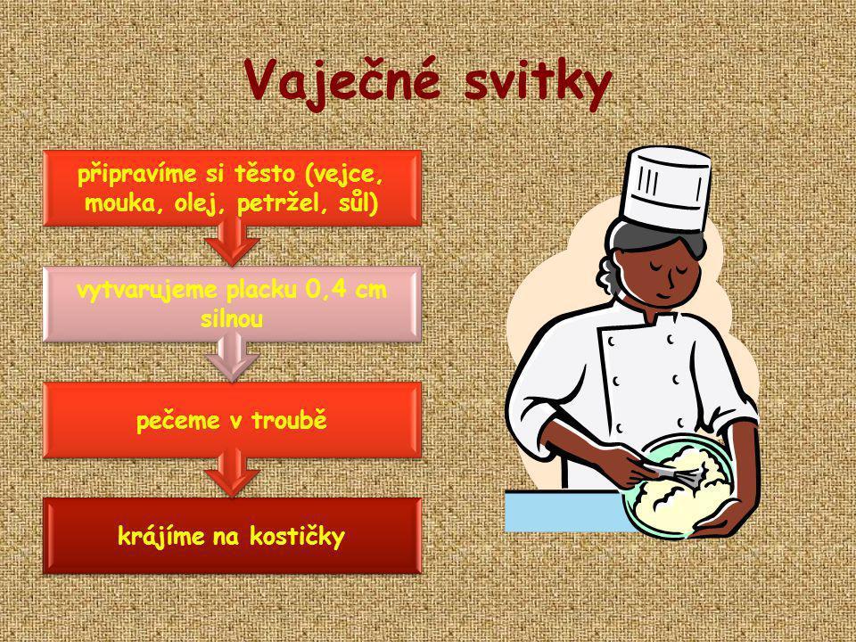 Vaječné svitky krájíme na kostičky pečeme v troubě vytvarujeme placku 0,4 cm silnou připravíme si těsto (vejce, mouka, olej, petržel, sůl)