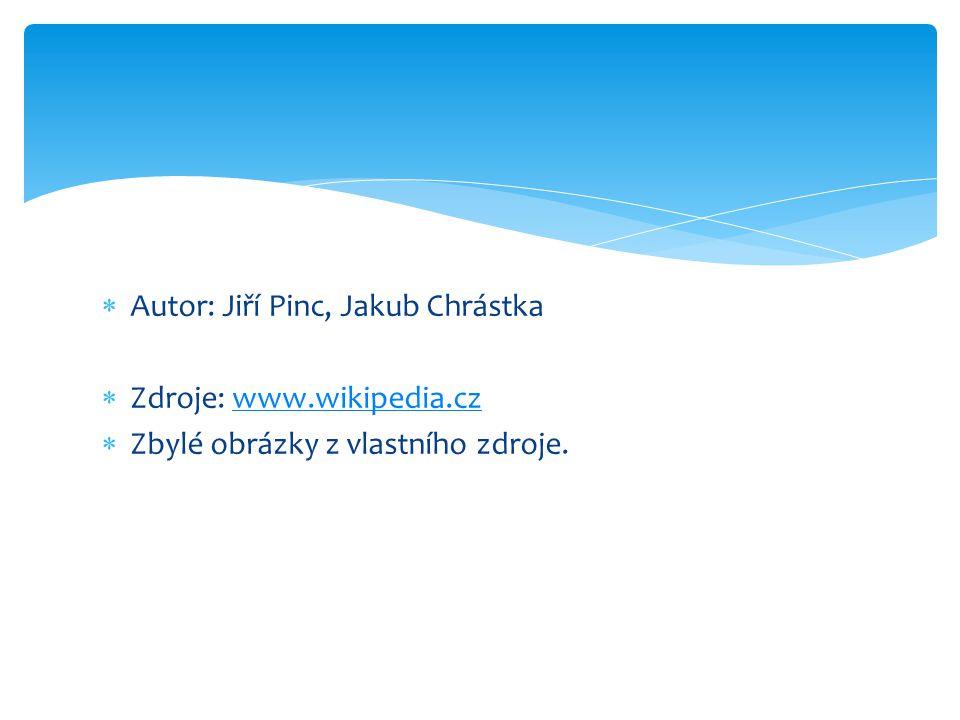  Autor: Jiří Pinc, Jakub Chrástka  Zdroje: www.wikipedia.czwww.wikipedia.cz  Zbylé obrázky z vlastního zdroje.