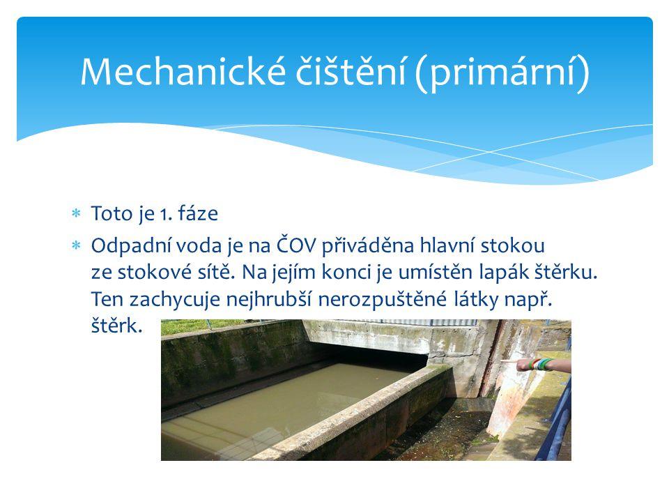  Toto je 1.fáze  Odpadní voda je na ČOV přiváděna hlavní stokou ze stokové sítě.