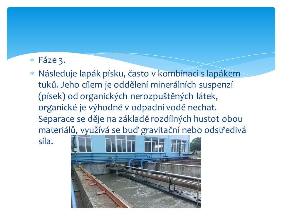 Fáze 3. Následuje lapák písku, často v kombinaci s lapákem tuků.