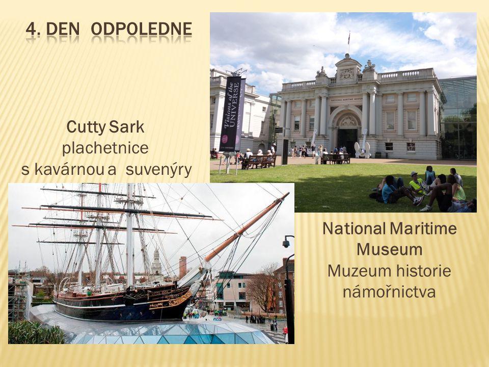 Cutty Sark plachetnice s kavárnou a suvenýry National Maritime Museum Muzeum historie námořnictva