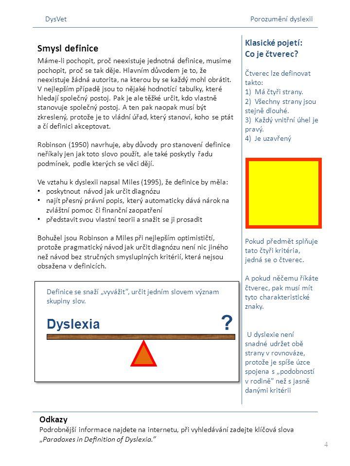"""Odkazy Podrobnější informace najdete na internetu, při vyhledávání zadejte klíčová slova """"Paradoxes in Definition of Dyslexia."""" Klasické pojetí: Co je"""