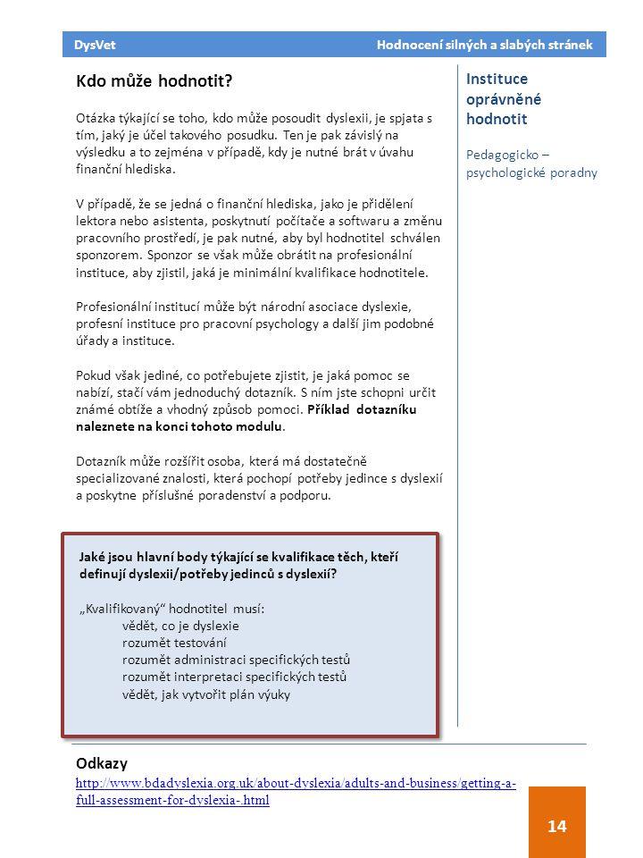 Odkazy http://www.bdadyslexia.org.uk/about-dyslexia/adults-and-business/getting-a- full-assessment-for-dyslexia-.html Instituce oprávněné hodnotit Pedagogicko – psychologické poradny Kdo může hodnotit.