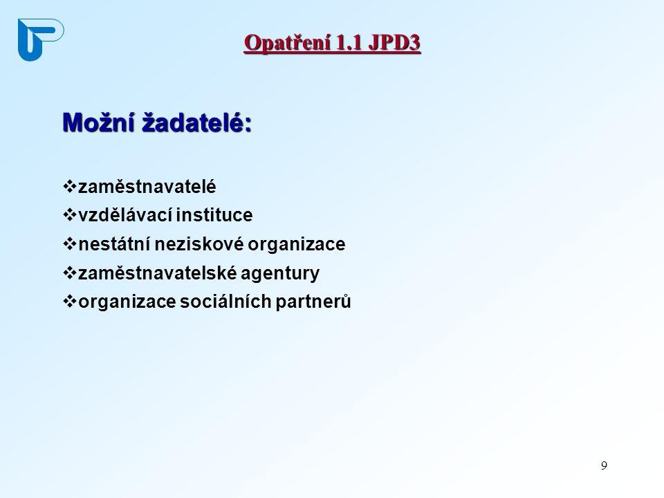 9 Opatření 1.1 JPD3 Možní žadatelé:  zaměstnavatelé  vzdělávací instituce  nestátní neziskové organizace  zaměstnavatelské agentury  organizace s