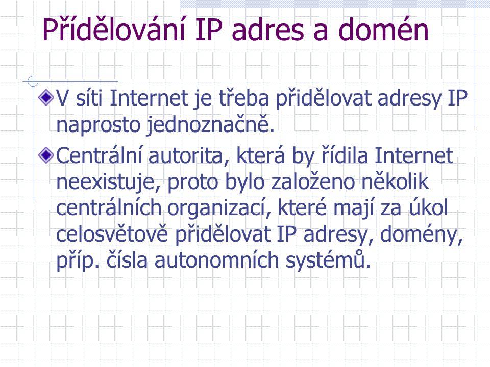 Přídělování IP adres a domén V síti Internet je třeba přidělovat adresy IP naprosto jednoznačně. Centrální autorita, která by řídila Internet neexistu