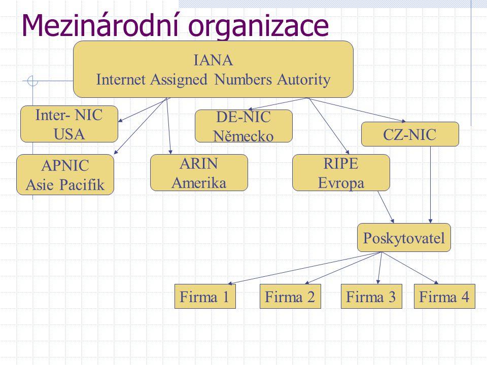 Mezinárodní organizace APNIC Asie Pacifik IANA Internet Assigned Numbers Autority Inter- NIC USA ARIN Amerika DE-NIC Německo RIPE Evropa CZ-NIC Poskyt
