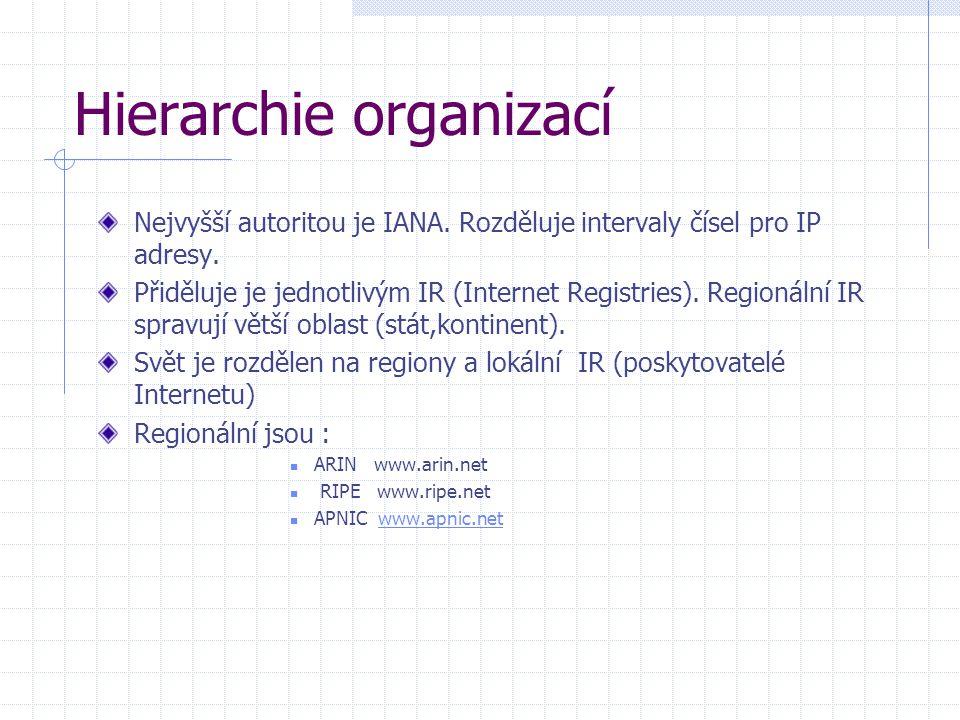 Hierarchie organizací Nejvyšší autoritou je IANA. Rozděluje intervaly čísel pro IP adresy. Přiděluje je jednotlivým IR (Internet Registries). Regionál