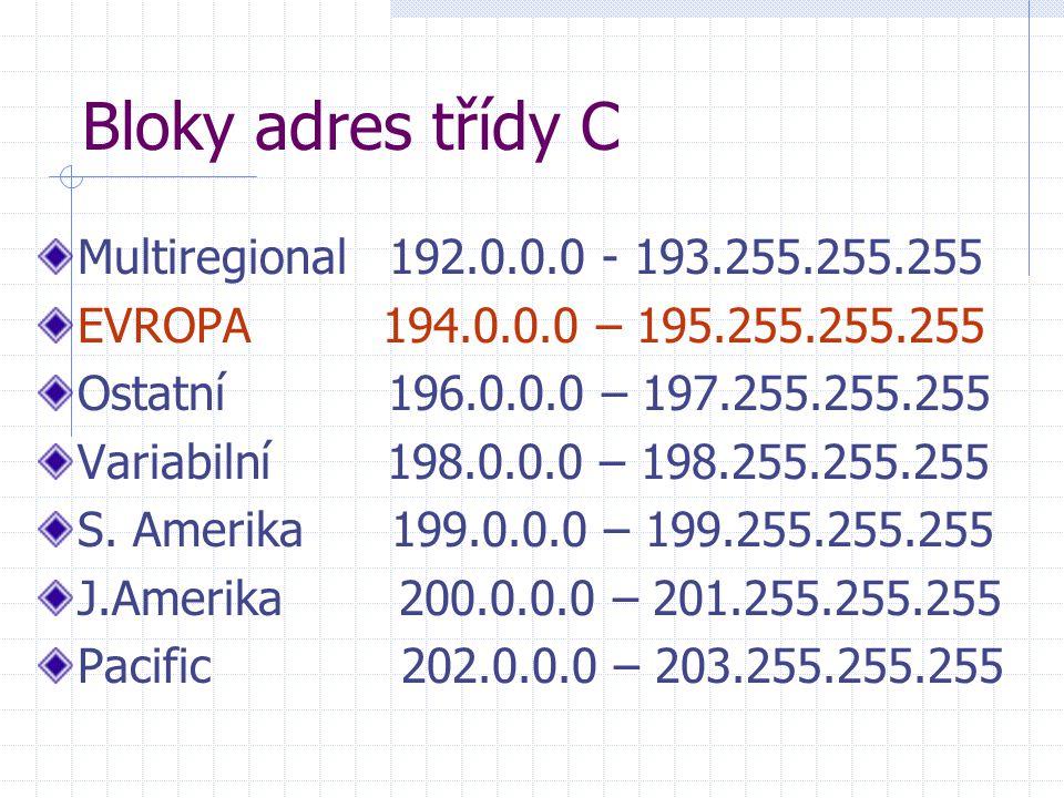 Bloky adres třídy C Multiregional 192.0.0.0 - 193.255.255.255 EVROPA 194.0.0.0 – 195.255.255.255 Ostatní 196.0.0.0 – 197.255.255.255 Variabilní 198.0.