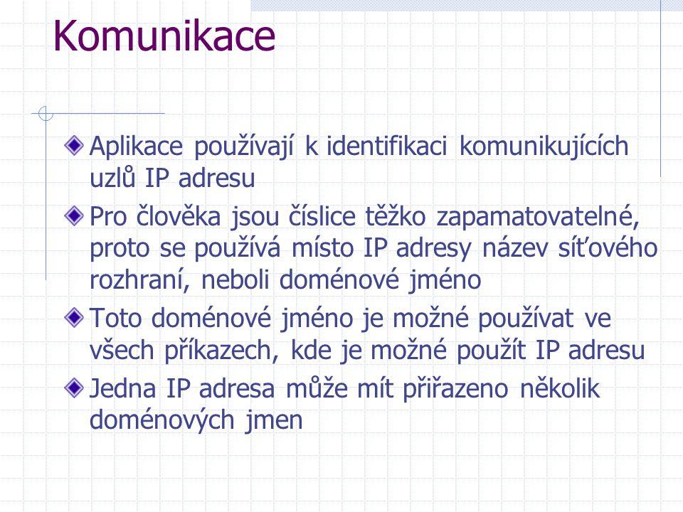 Komunikace Aplikace používají k identifikaci komunikujících uzlů IP adresu Pro člověka jsou číslice těžko zapamatovatelné, proto se používá místo IP a
