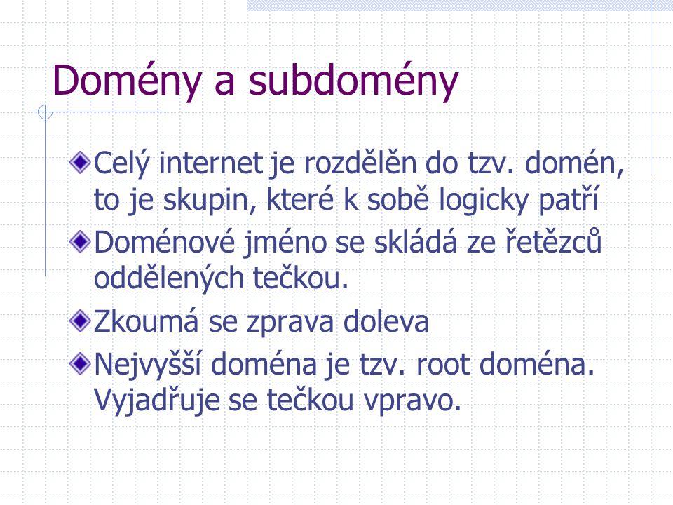 Domény a subdomény Celý internet je rozdělěn do tzv. domén, to je skupin, které k sobě logicky patří Doménové jméno se skládá ze řetězců oddělených te