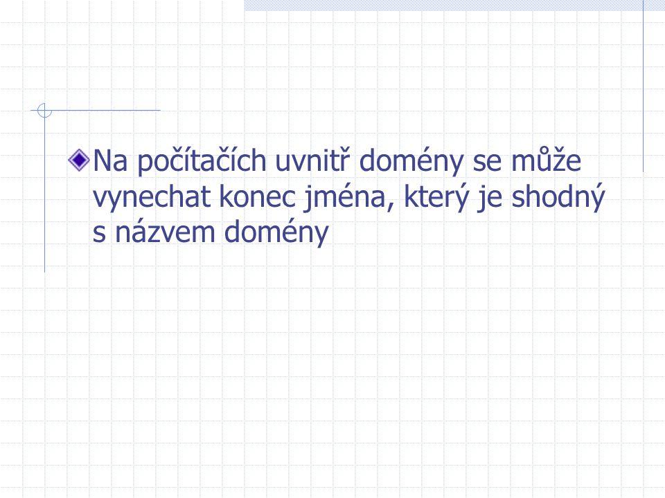 Na počítačích uvnitř domény se může vynechat konec jména, který je shodný s názvem domény