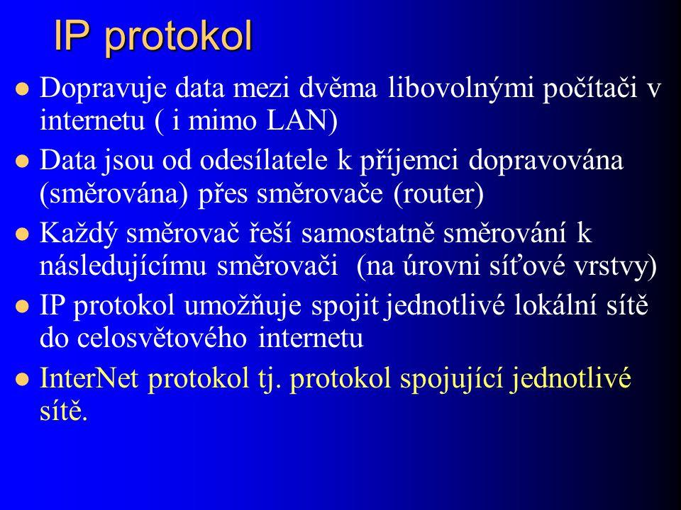 IP protokol Dopravuje data mezi dvěma libovolnými počítači v internetu ( i mimo LAN) Data jsou od odesílatele k příjemci dopravována (směrována) přes směrovače (router) Každý směrovač řeší samostatně směrování k následujícímu směrovači (na úrovni síťové vrstvy) IP protokol umožňuje spojit jednotlivé lokální sítě do celosvětového internetu InterNet protokol tj.