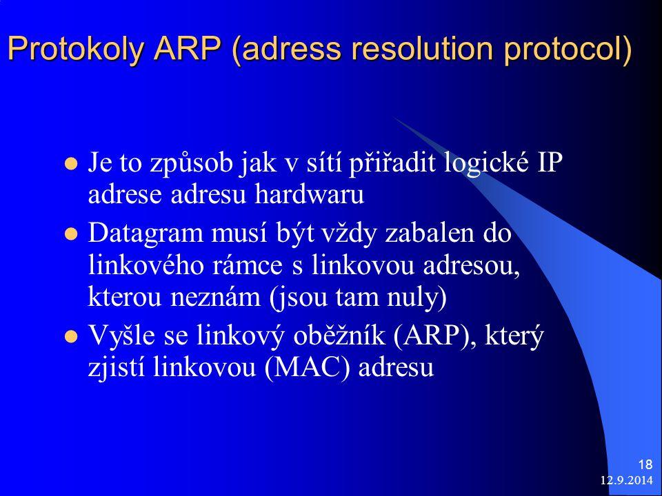 12.9.2014 18 Protokoly ARP (adress resolution protocol) Je to způsob jak v sítí přiřadit logické IP adrese adresu hardwaru Datagram musí být vždy zabalen do linkového rámce s linkovou adresou, kterou neznám (jsou tam nuly) Vyšle se linkový oběžník (ARP), který zjistí linkovou (MAC) adresu