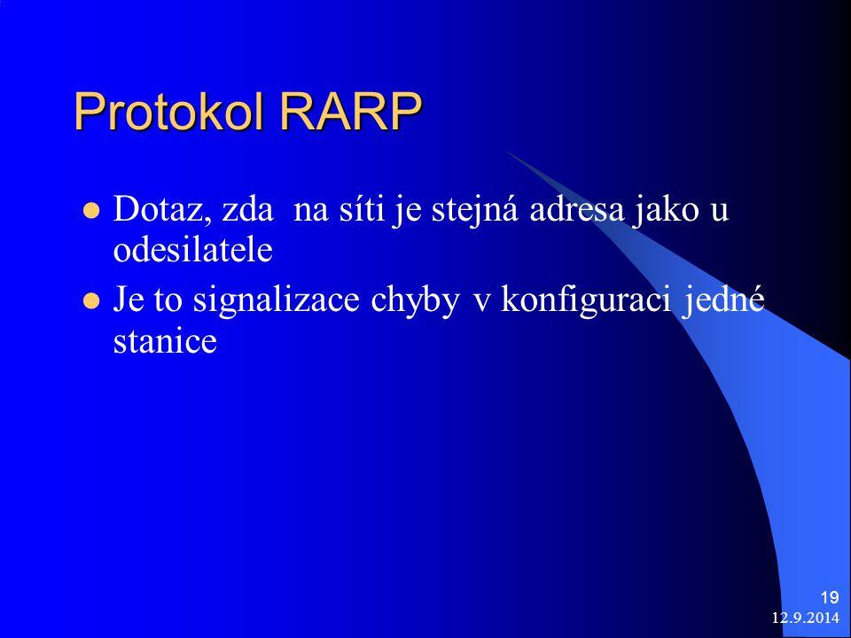 12.9.2014 19 Protokol RARP Dotaz, zda na síti je stejná adresa jako u odesilatele Je to signalizace chyby v konfiguraci jedné stanice