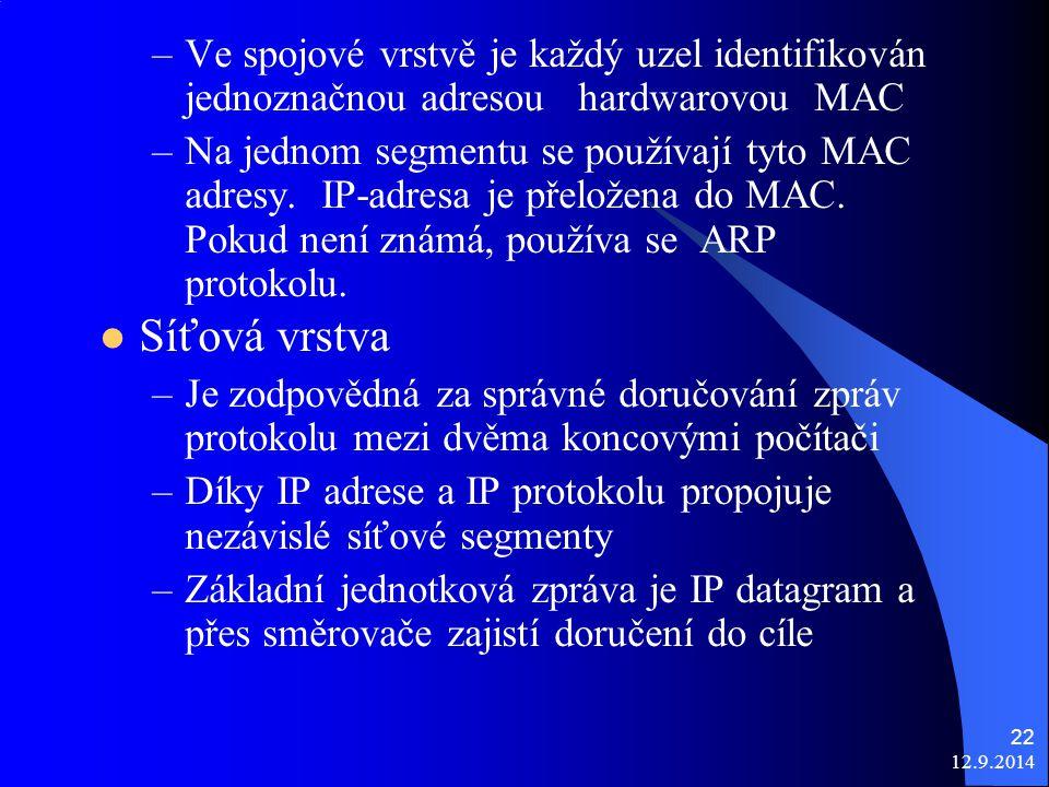 12.9.2014 22 –Ve spojové vrstvě je každý uzel identifikován jednoznačnou adresou hardwarovou MAC –Na jednom segmentu se používají tyto MAC adresy.