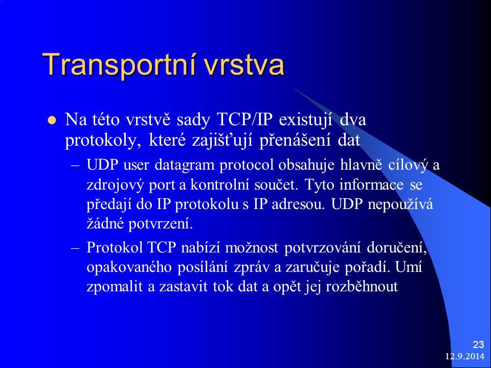 12.9.2014 23 Transportní vrstva Na této vrstvě sady TCP/IP existují dva protokoly, které zajišťují přenášení dat –UDP user datagram protocol obsahuje hlavně cílový a zdrojový port a kontrolní součet.