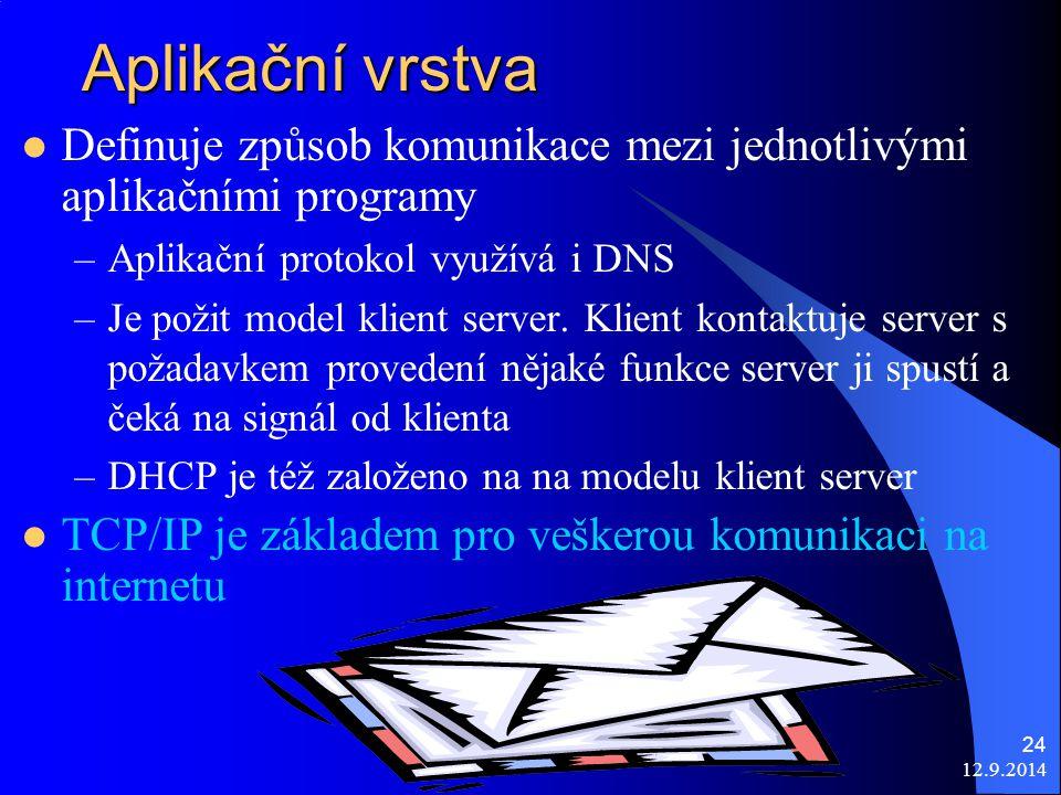 12.9.2014 24 Aplikační vrstva Definuje způsob komunikace mezi jednotlivými aplikačními programy –Aplikační protokol využívá i DNS –Je požit model klient server.